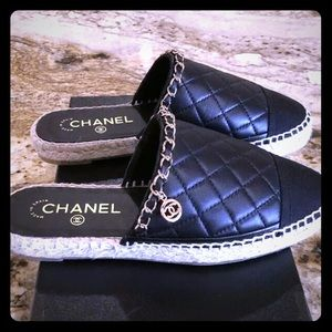 Black Chanel Openback Quilted Espadrilles